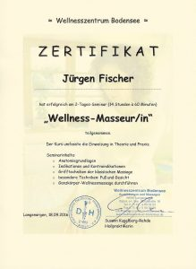 Zertifikat Wellness-Masseur