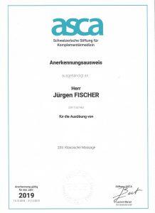 ASCA Anerkennunsausweis - ZSR T357463 - 205. Klassische Massage